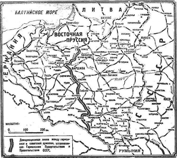 mapa Paktu Ribbentrop-Mołotow (Wikimedia Commons)