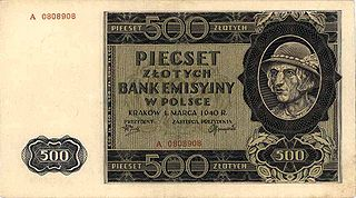 Okupacyjna młynarka 500 zł z 1940 r., tzw. <góral>