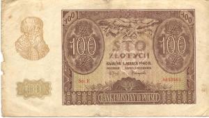 Okupacyjna młynarka 100 zł z 1940 r.